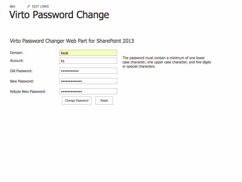 Password Change Web Part - Remote AD users can also change password with Sharepoint Password Change Web Part