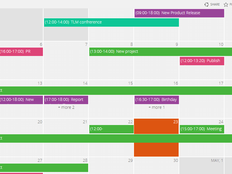 Calendar Web Part - Color coded data sources