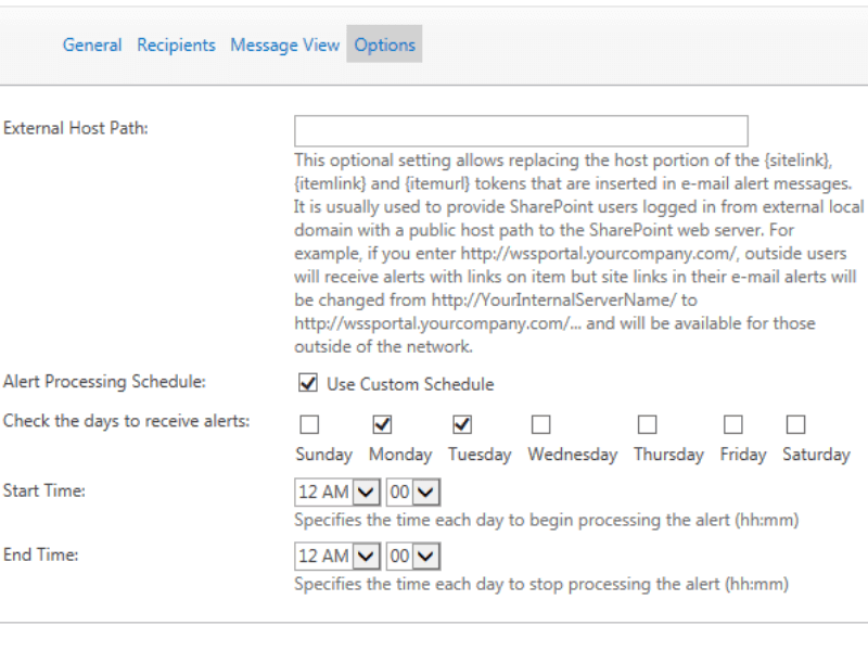 Alerts and Reminders Web Part - Flexible configuration of Sharepoint alerts frequency and message templates