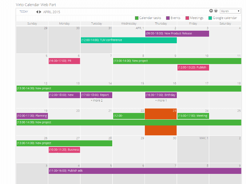 Calendar Web Part - Aggregate several calendars from different data sources into one calendar